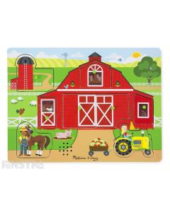 Hear the sounds from around the farm with this fun sound jigsaw puzzle from Melissa & Doug, featuring chickens, horses, milking a cow, tractor sounds and more.
