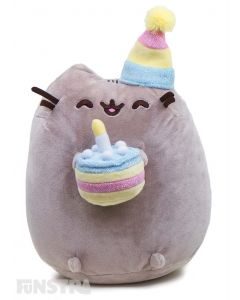 Happy Birthday! Pusheen is ready to party! Wearing her party hat and holding her birthday cake, decorated with a candle on top, Pusheen is excited and ready to celebrate everyone's birthday in kawaii style.