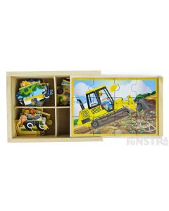 Four puzzles feature the bulldozer, excavator, dump truck and cement mixer construction vehicles and come packed in a wooden box to assemble and frame the puzzle.