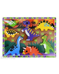 Learn and play with chunky dinosaur puzzle pieces that feature the Pteranodon, Ankylosaurus, Apatosaurus, T-Rex, Triceratops, Stegosaurus, and Hadrosaurus.