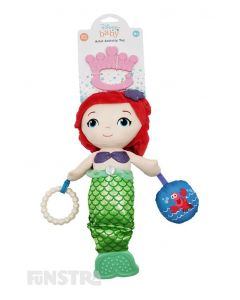 The Ariel from The Little Mermaid activity toy helps to develop your little one's senses and fine motor skills with a rattle, squeaker and teether from Disney Baby.