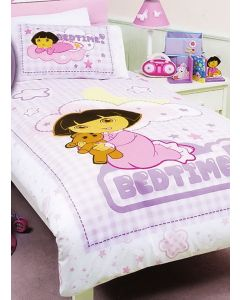 Make bedtime easier with a doona cover featuring a sleepy Dora cuddling her teddy bear, ready to say goodnight.