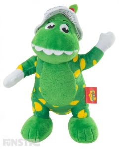 Dorothy is a friendly green dinosaur with yellow spots, wears a floppy hat and loves to eat roses... romp bomp a chomp!