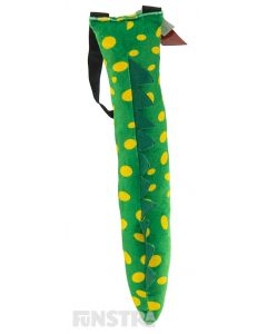 Green with yellow spots, Dorothy's tail is made of plush fabric and is super soft and perfect for dressing up as the rososaurus, Dorothy the Dinosaur.