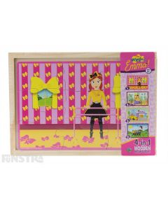 Four puzzles feature Emma surrounded by her yellow bow, as a mermaid, driving her bow mobile and flying a kite with Simon, Anthony and Lachy, and come packaged in a wooden box to assemble and frame the puzzle.