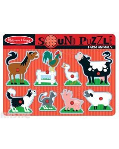 Hear the sounds of farm animals with this fun sound jigsaw puzzle from Melissa & Doug, featuring a horse, rooster, duck, cow, sheep, pig, cat and dog.