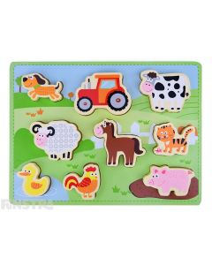 Toddlers can learn and play with this wooden puzzle design that features farm animals with a dog, sheep, duck, chicken, horse, pig, cow, cat, mouse and tractor.