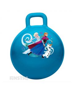 Bounce around with Princess Anna of Arendelle, Elsa The Snow Queen and Olaf the snowman on this blue hopper ball featuring the Frozen characters surrounded by snowflakes.
