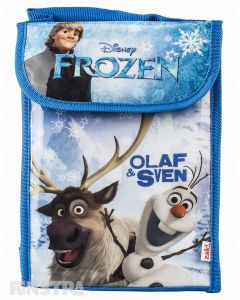 Disney Frozen lunch bag features reindeer Sven, snowman Olf and iceman Kristoff surrounded by snowflakes.