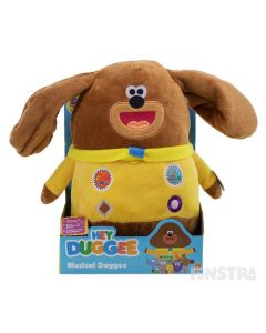 Duggee plays music from the show, flaps his ears and moves to the music with this fun interactive battery operated toy.