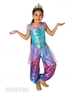 Experience a whole new world with Genie and his magic lamp and fly on your magic carpet when you dress up as Jasmine from Aladdin with this beautiful Disney Princess costume for children.