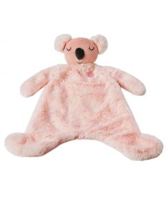 Kayla the koala security blanket is pink and an adorable companion, soother and comfort object for infants.