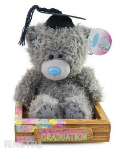 Tatty Teddy can send a message of congratulations to your graduate with a cute and cuddly Me To You graduation bear wearing a black graduation cap with tassels.