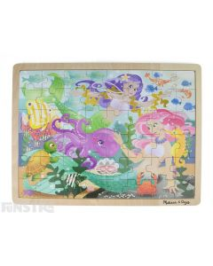 Learn and play with the Melissa & Doug puzzle featuring a magical scene of mermaids surrounded by fish, a turtle, octopus, crab, pearl, seahorse and prawns.