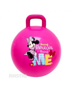 Be fabulous and bounce with Disney's adorable Minnie Mouse on this super cute pink hopper ball.