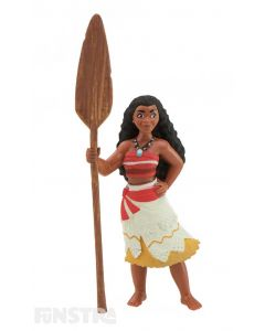 'I am Moana of Motunui. Aboard my boat, I will sail across the sea and restore the heart of Te Fiti.' Moana wears her signature costume with blue necklace and holds her magical oar.