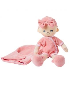Molly is a baby girl rag doll with a soft cloth body and wears a nappy, pink jumpsuit and bonnet and comes with a sleeping bag.