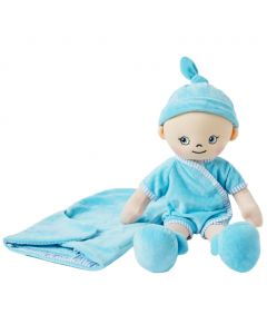 Ollie is a baby boy rag doll with a soft cloth body and wears a nappy, blue jumpsuit and bonnet and comes with a sleeping bag.