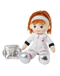 Astrid is an astronaut rag doll with a soft cloth body and auburn hair tied in a ponytail with white headband and wears a astronaut's uniform that consists of a white spacesuit with silver embellishments and loves to explore outer space and other planets.
