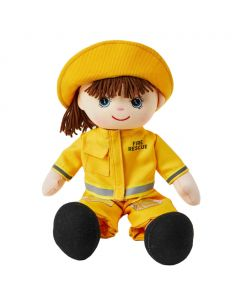 Ella is a girl firefighter rag doll with a soft cloth body and brown hair and wears a firewoman's uniform that consists of a yellow safety jacket, pants and hat and loves to rescue people and animals from fires.