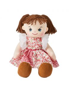 Isabelle is a sweet rag doll with a soft cloth body and brown hair tied in pigtails and wears a stunning red floral dress and loves picnics and riding her bike.