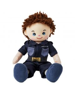 Lewis is a boy police officer rag doll with a soft cloth body and brown hair and wears a policeman's uniform that consists of a dark blue shirt and pants and loves to help others and keep the city safe.