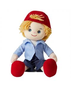 Ryan is fun loving boy rag doll with blonde hair and outfit consists of a striped shirt, denim shorts and a red corduroy cap and loves drawing and playing sports.