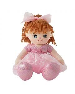 Sophia is a pretty ballerina rag doll and wears a pink leotard and tutu with a pink bow in her  brown hair with pink ballet slippers.
