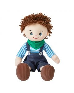 Tim is an adventurous boy rag doll with a soft cloth body and spikey brunette hair style and wears a blue overalls with a fun bandana and loves to play piano and code on his computer.