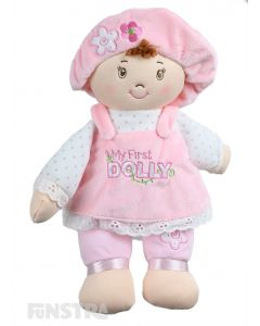 Every baby girl would love the cutest little doll from GUND, 'My First Dolly'. Wearing a pink pinafore and bonnet on her brown hair, this beautiful dolly is the sweetest first dolly for babies.