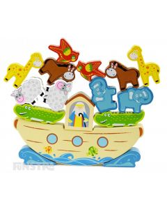 Balance the animals on Noah's Ark with this fun wood balancing game featuring the elephant, giraffe, sheep, horse and parrot.