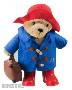 Paddington Bear Classic Plush Toy with Red Hat & Boots Blue Duffel Coat & Suitcase Large