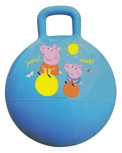 Peppa and George will bounce and jump with you on the blue rubber hippity hop ball inflatable toy.