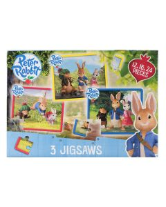 The Peter Rabbit set of three jigsaw puzzles encourages cognitive development and helps preschoolers to learn problem-solving skills.