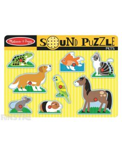 Hear the sounds of pets with this fun sound jigsaw puzzle from Melissa & Doug, featuring a horse, cat, fish, frog, dog, bird, mouse and guinea pig.