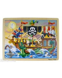 Learn and play with the Melissa & Doug puzzle featuring an adventure scene of pirates on a pirate ship, surrounded by a sea dragon, shark and octopus.