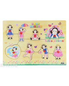 Jemima is dressed up as a ballerina, fairy, princess and more on this fun wooden Play School pin puzzle.