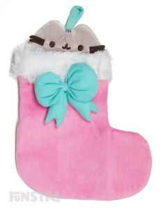 Pusheen peeking out of the stocking can hold a lot of treats for good little kitties!