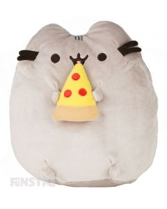 Pusheen is super happy to be eating a slice of pepperoni pizza, with cute facial features on this cuddly toy from GUND.