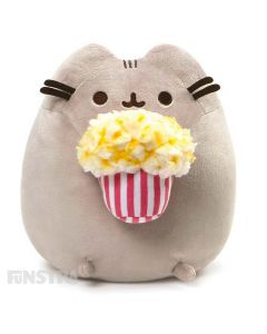 Bring home this super soft and squishy Pusheen plush along with a classic bag of fresh buttered popcorn!