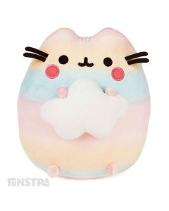 Cuddle this super soft and squishy rainbow coloured Pusheen plush holding a cloud!