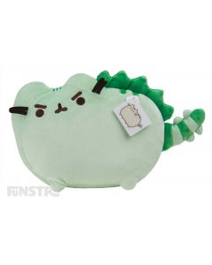 The famous feline is Pusheenosaurus Rex, a green plush dinosaur with soft spikey plates across her back and tail and has a scary expression, but is a giant softy at heart.