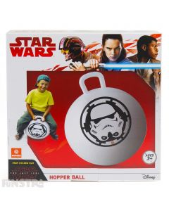 Bounce into another dimension with a Stormtrooper from Star Wars on this black and white space hopper ball.