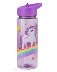 Beautiful unicorns with spiraling horns and flowing hair stand on a rainbow on this purple canteen