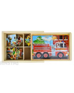 Four puzzles feature the fire engine, school bus, train and race car vehicles and come packed in a wooden box to assemble and frame the puzzle.