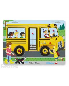 Sing along to the Wheels on the Bus with this fun sound jigsaw puzzle from Melissa & Doug.