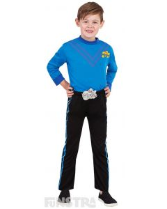 Dress up as the blue Wiggle, Anthony Field, who loves to play the drums, guitar and tin whistle, wearing a blue shirt and black pants.