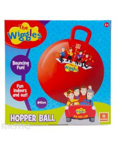 Bounce into song and dance with Anthony, Emma, Lachy and Simon on this red space hopper ball.