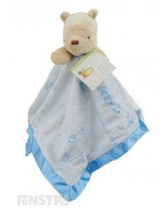 Classic Winnie the Pooh comforter on this baby blue blanket for little boys will calm and comfort babies.