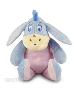 Soft and cuddly Disney Baby plush toy of donkey, Eeyore, with rattle to entertain babies.